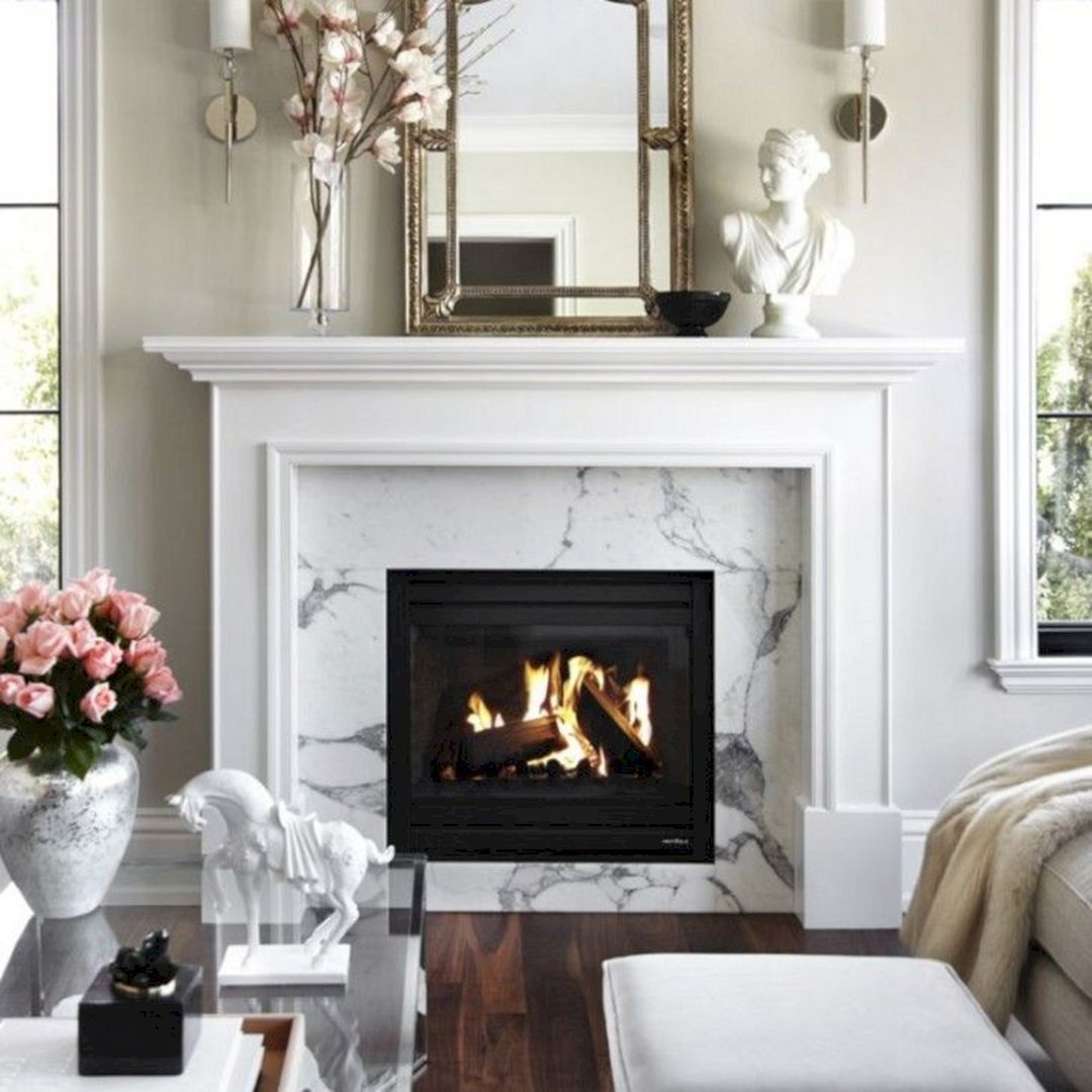 White Fireplace Mantel Ideas Interior Home Living Room