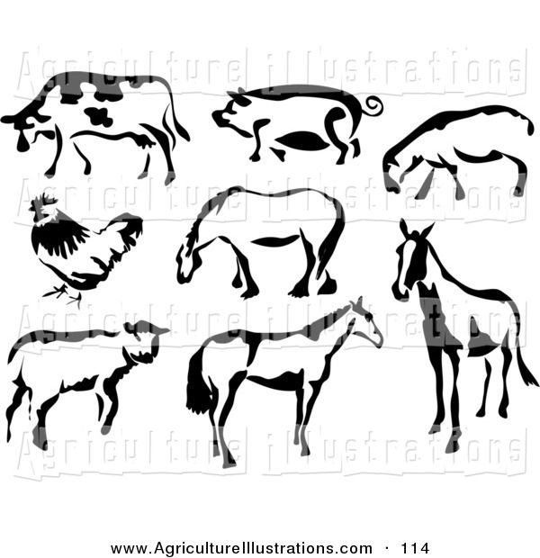 Agriculture Clipart Of Black And White Eight Cow Pig Sheep Chicken And Horses In Paintbrush Stroke Style By Prawn Animals Animal Clipart Free Animal Clipart