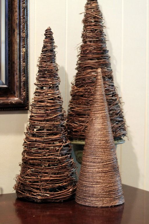 replacing my tissue paper ones with these. spray paint with glitter after.  wrap twine around a brown paper cone and hot glue for a Christmas tree - 39 Simply Extraordinary DIY Branches And DIY Log Crafts That Will