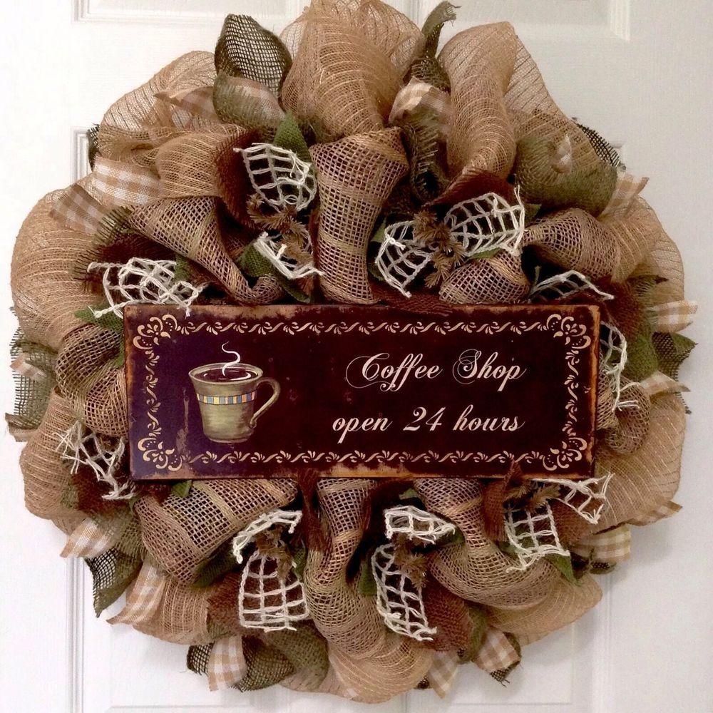 Coffee Shop Open 24 Hours Kitchen Wreath Handmade Deco