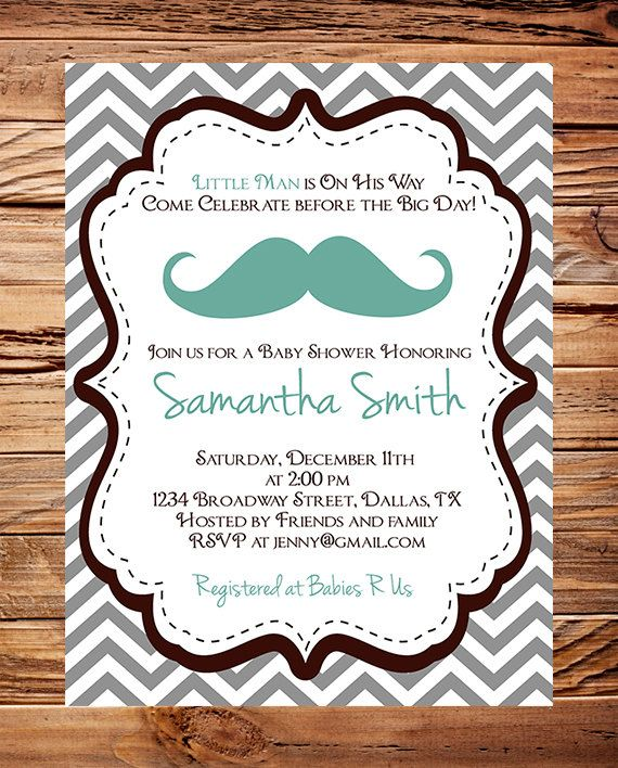baby shower invitation boy mustache boy shower little man brown teal