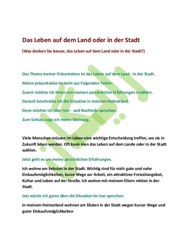 Das Leben Auf Dem Land Oder In Der Stadt Was Denken Sie Besser Das Leben Auf Dem Land Oder In Der Stadt Das Thema Mein Learn German German Language Telc