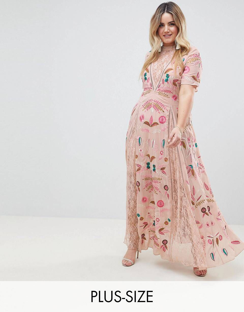 Frock And Frill Plus Allover Embroidered Plunge Front Maxi Dress in ... 3c773a746