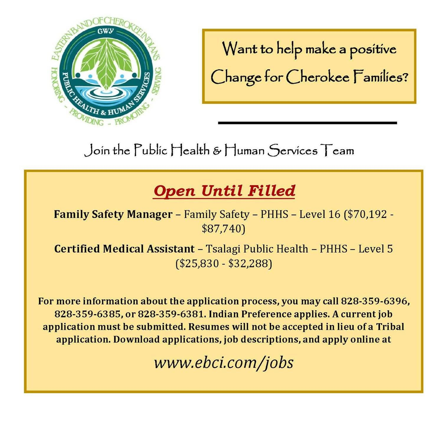 Pin by EBCI Public Health & Human Services on PHHS Job