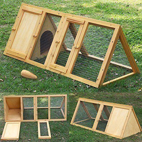 Garden Mile Grosser Holzerner Predator Nachweis Dreieckige Geformt Kaninchenstall Kafig Mit Eingebauter Freigehege Kleintier Kaninchen Kaninchenkafig Haustiere