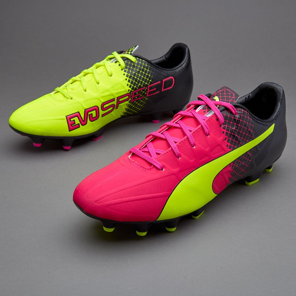 Puma evoSPEED 4.5 Tricks FG - Mens Shoes - Firm Ground - Pink Glo/Safety  Yellow/Black