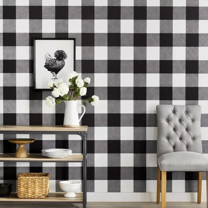 Buffalo Plaid Peel Stick Wallpaper Threshold In 2020 Peel And Stick Wallpaper Plaid Wallpaper Kitchen Wallpaper Black