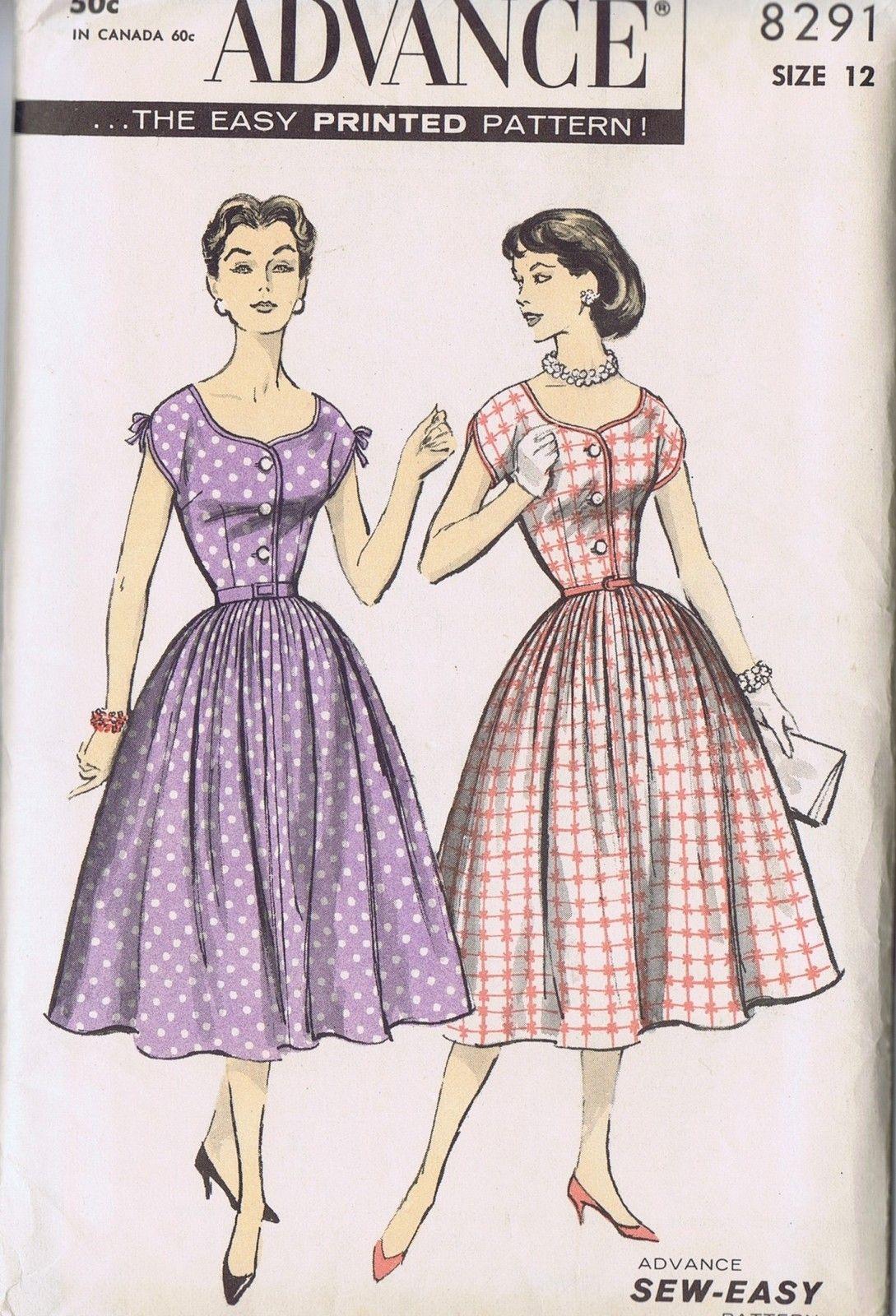VINTAGE 1 PIECE DRESS 50s SEWING PATTERN 8291 ADVANCE SZ 12 BUST 30 HIP 33 UNCUT | eBay