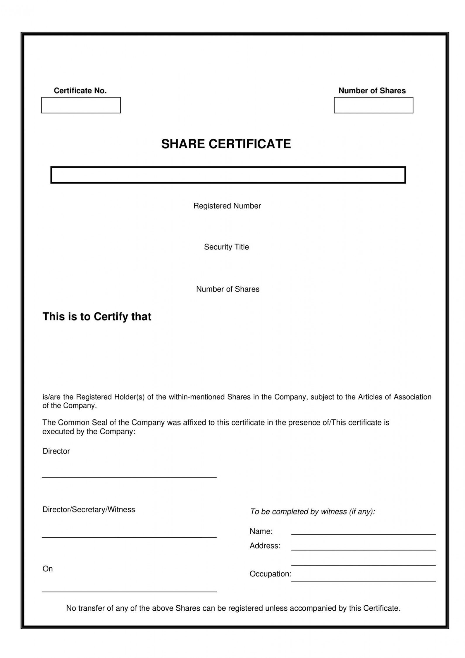 Browse Our Image of Stock Transfer Certificate Template in