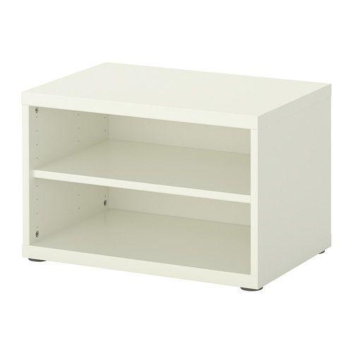 IKEA - BESTÅ, Regal/Aufsatzregal, weiß, , 1 versetzbarer Boden; der Abstand dazwischen kann dem Bedarf angepasst werden.Höhenverstellbare Füße; stabiler Stand auch auf unebenen Böden.Nutzt Wandfläche optimal, gleichzeitig bleibt mehr Bodenfläche frei.
