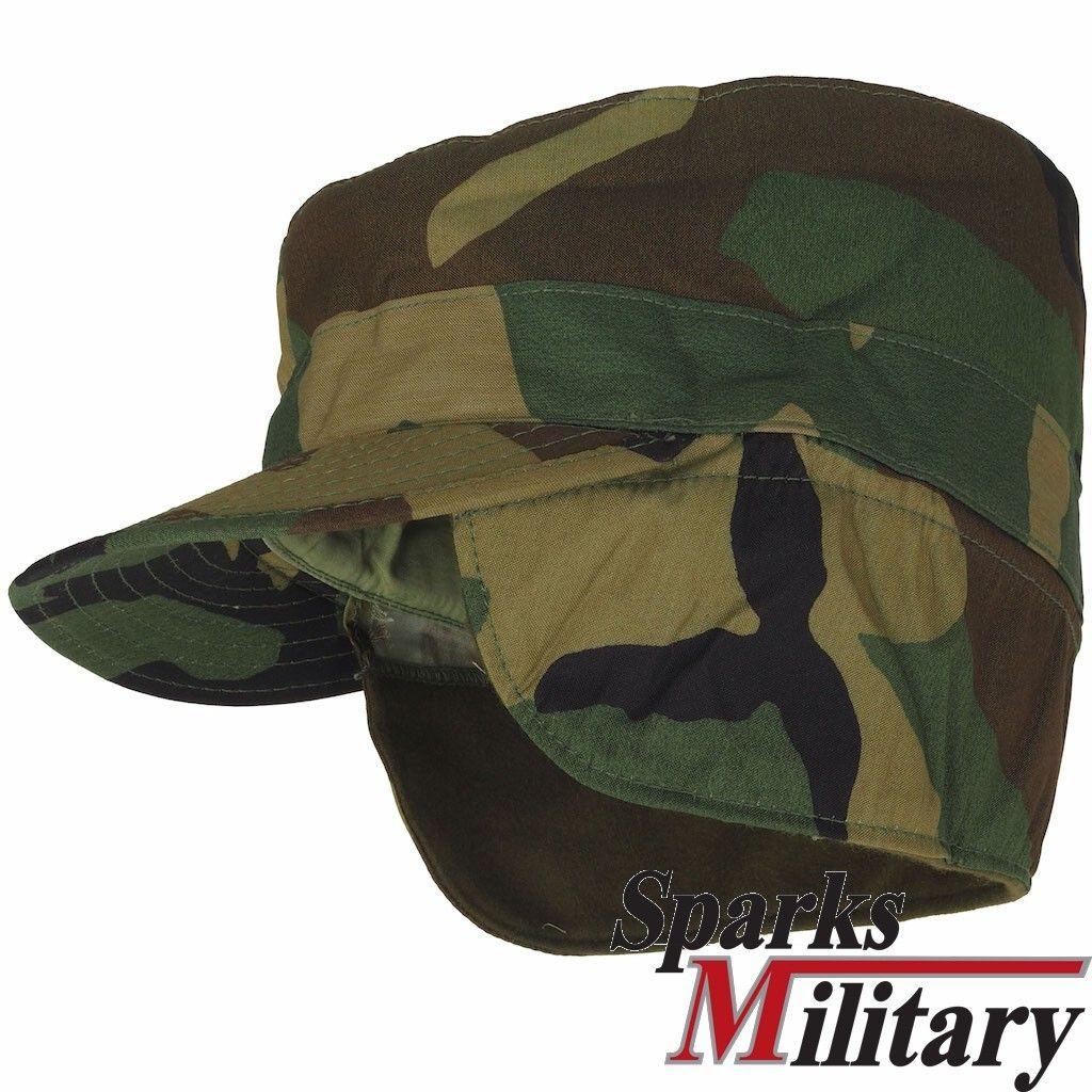 Black Military Fatigue Patrol Cap with Ear Flaps