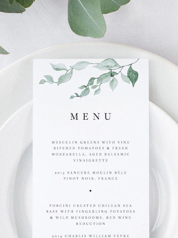 Greenery Wedding Menu Wedding Menu Template Botanical Green Leaves Menu Cards Printable Dinner Menu Templett Editable Instant Download 04 #weddingmenutemplate