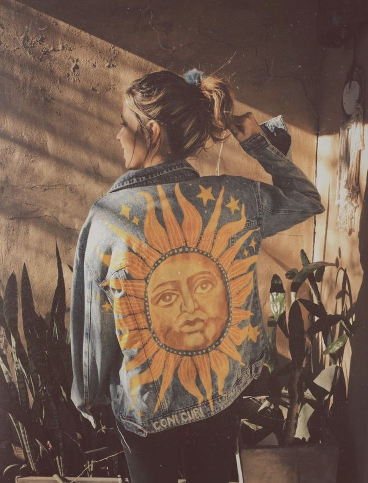90s inspired sun patch illustration design inspiration for custom jean jacket design idea