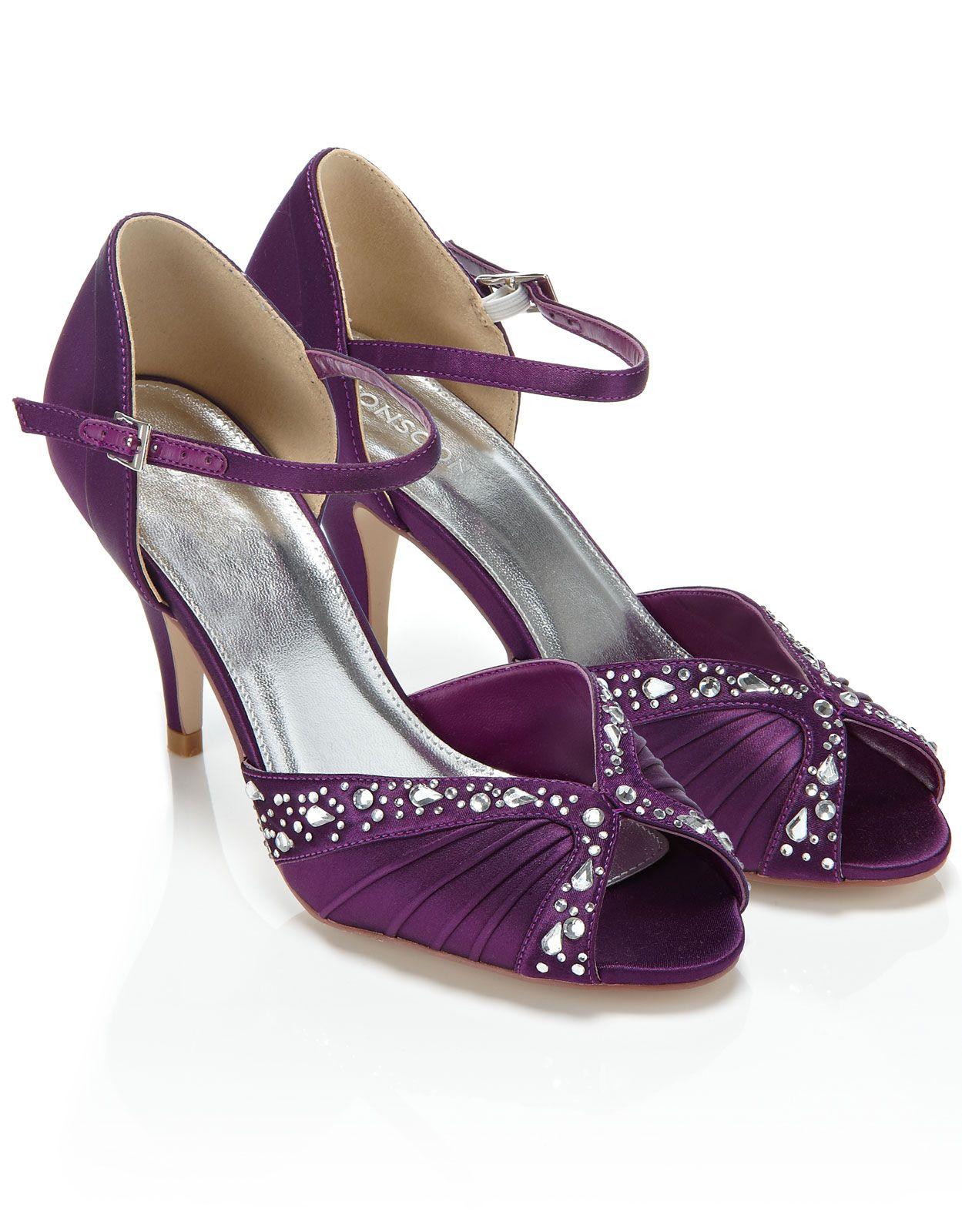 Beau Evelyn Diamante Bridal Shoe · Low Heel BootsLow HeelsPurple ...
