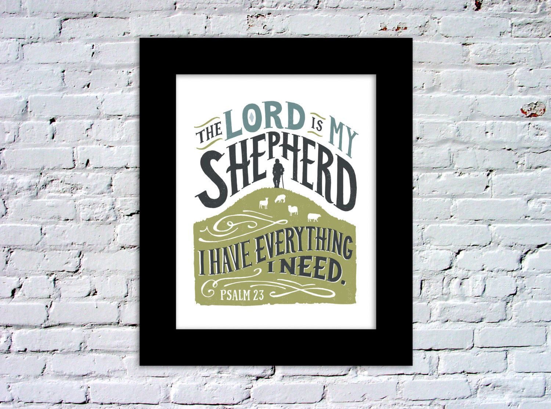 Lord is My Shepherd Psalm 23 Color Print por quietboystudio
