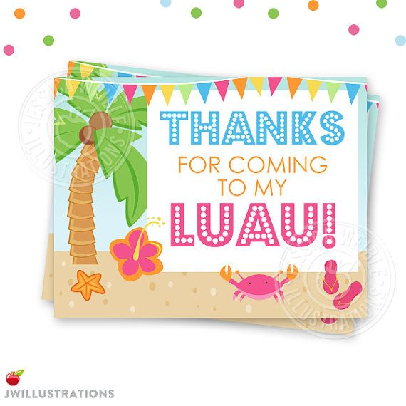 Luau Party Printables Party Printable Thank You Card Blank Party