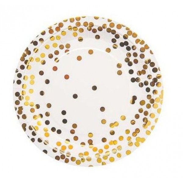 Our new metallic gold confetti plates are perfect for any celebration. Produced with gold foil and a gorgeous gloss finish these quality paper napkins come ...  sc 1 st  Pinterest & Sundays Gold Confetti Paper Plates - Party Cups Online | Party ...