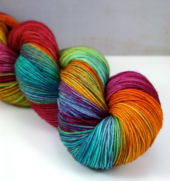 Tickle Toes in Pinwheel Hand Dyed Sock Yarn Fingering by LushMommy
