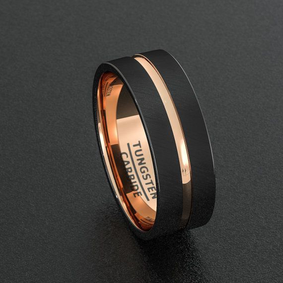 Mens Wedding Band Tungsten Ring Two Tone 8mm Black Brushed