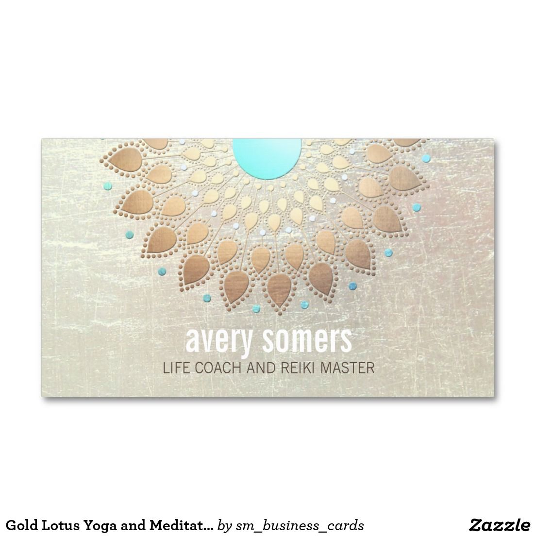 Gold Lotus Yoga and Meditation Teacher Wellness Business Card ...