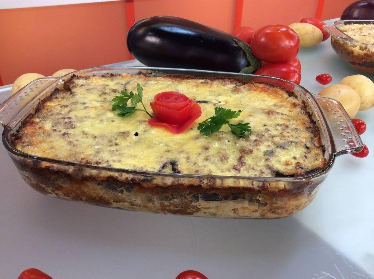 Moussaka de berinjela (substituir a carne por pvt)