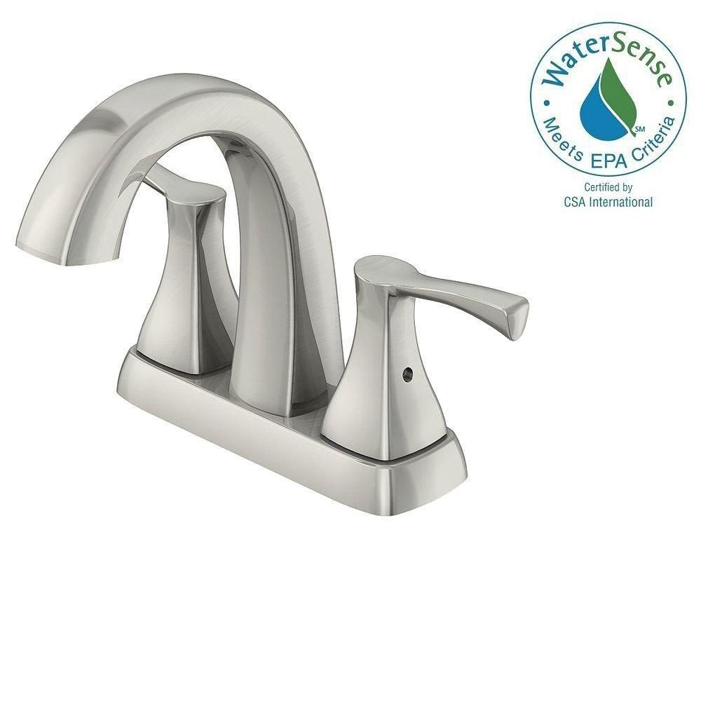 Glacier Bay 4 in. Centerset 2-Handle High-Arc Bathroom Faucet in Brushed Nickel and Ceramic Disc Cartridge with Pop-Up Assembly