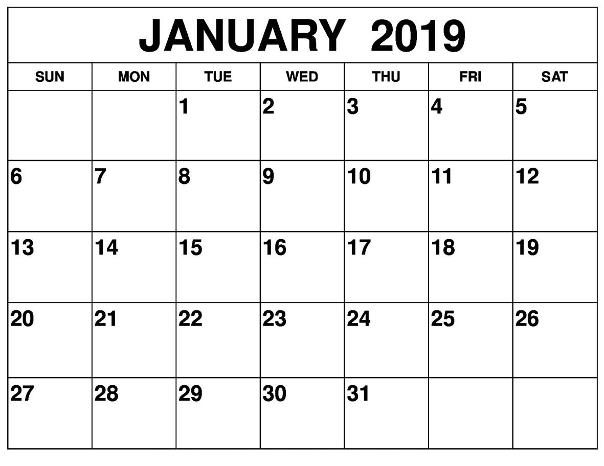 January 2019 Calendar Free Printable Printable Calendar July