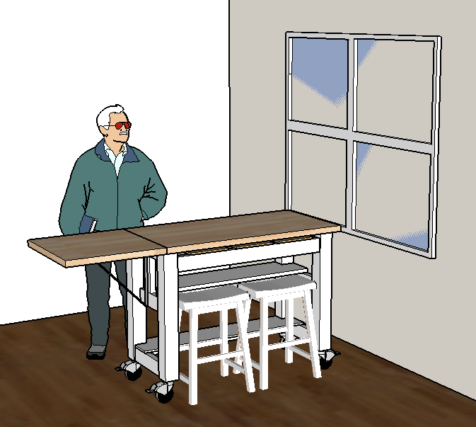 Google Sketchup Of The Butcherblock Top Kitchen Island On Casters With Folding Extension And Stools C Kitchen Island On Casters Kitchen Tops Canning Kitchen