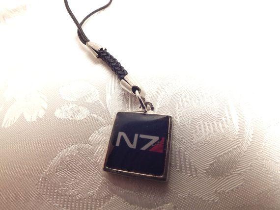 mass effect n7 cell phone charm keychain mass effect