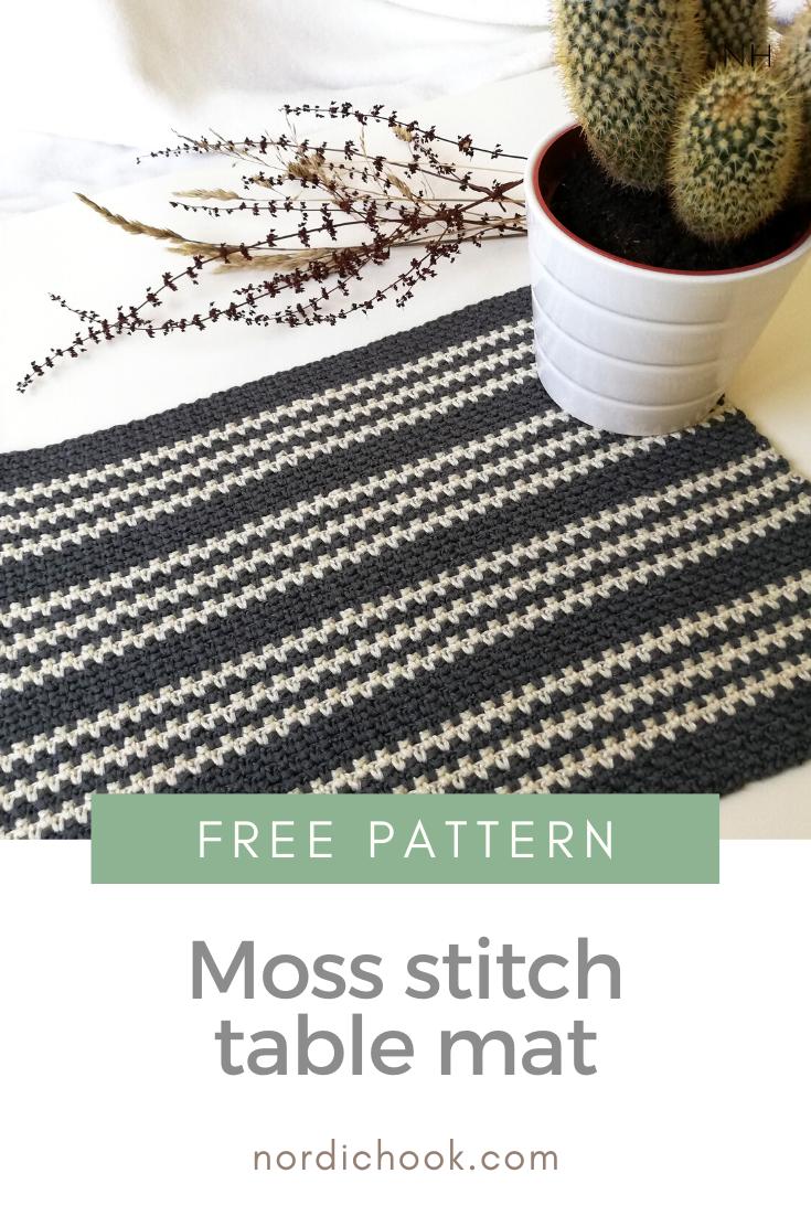 Moss Stitch Table Mat Nordic Hook In 2020 Crochet Placemat Patterns Placemats Patterns Crochet Table Mat