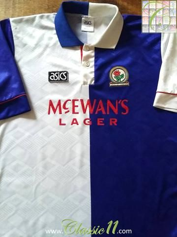 5a5f3a96251 Relive Blackburn Rovers  1992 1993 season with this original Asics home  football shirt.