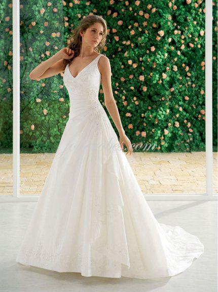 23b8fd4f052 prix bas Robes mariage A-ligne col en V train chapelle Taffeta Robe de  mariée - €120.97   jolie Robes