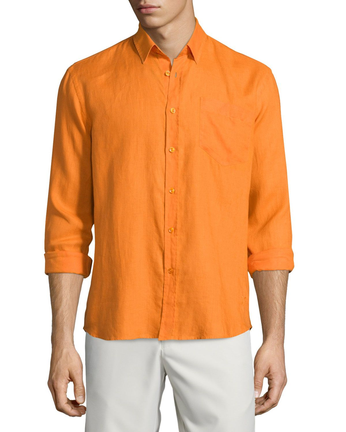 Caroubier Linen Long-Sleeve Shirt, Orange, Men's, Size: XXXL ...