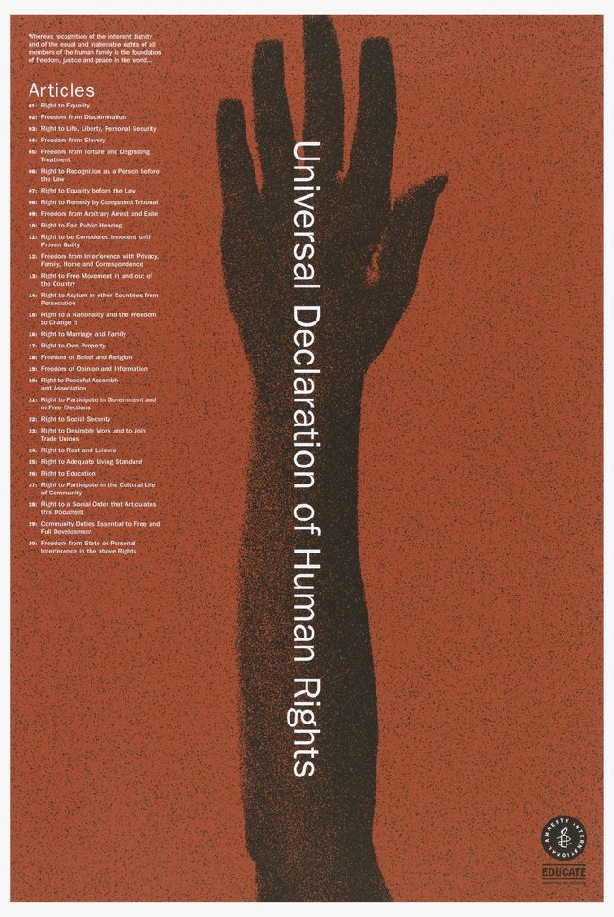 On A Red Background There Is A Silhouette Of Forearm And Hand In Black Atop The Arm In White Print Reads Univ Declaration Of Human Rights Human Rights Human