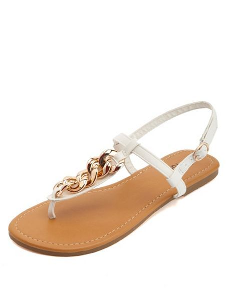 41c445828fc4 Gold Chain Embellished T-Strap Thong Sandals  Charlotte Russe ...