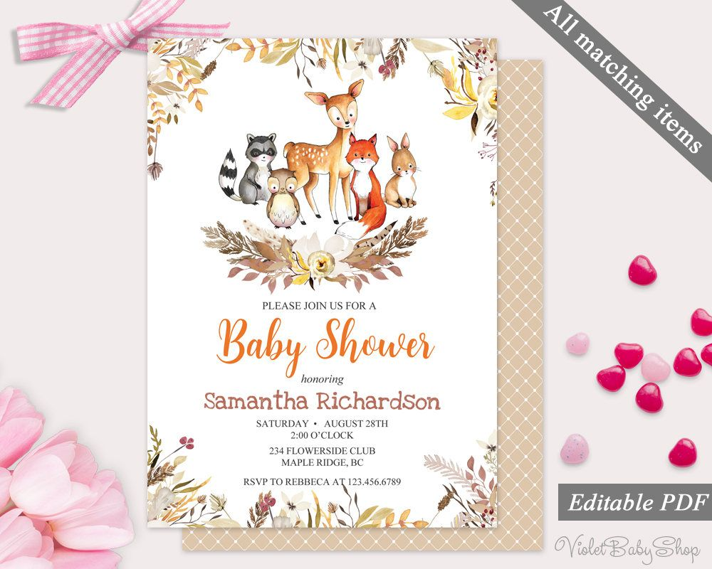 woodland baby shower invitation template printable animals