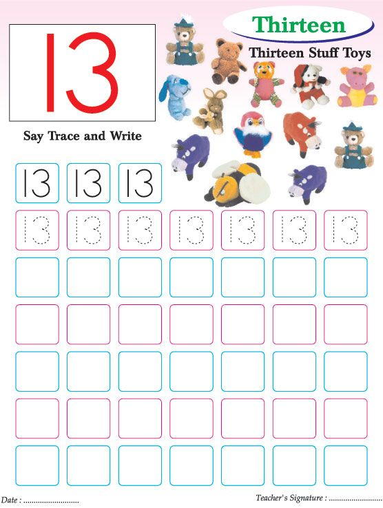 Numbers Writing Practice Worksheet 13