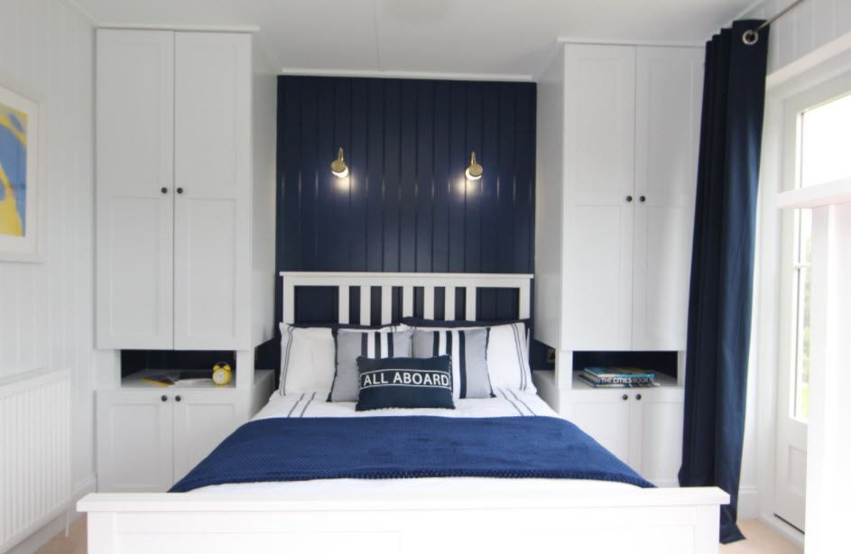 Gemütliches Schlafzimmer Interieur in zwei Farben aktuelle Ideen