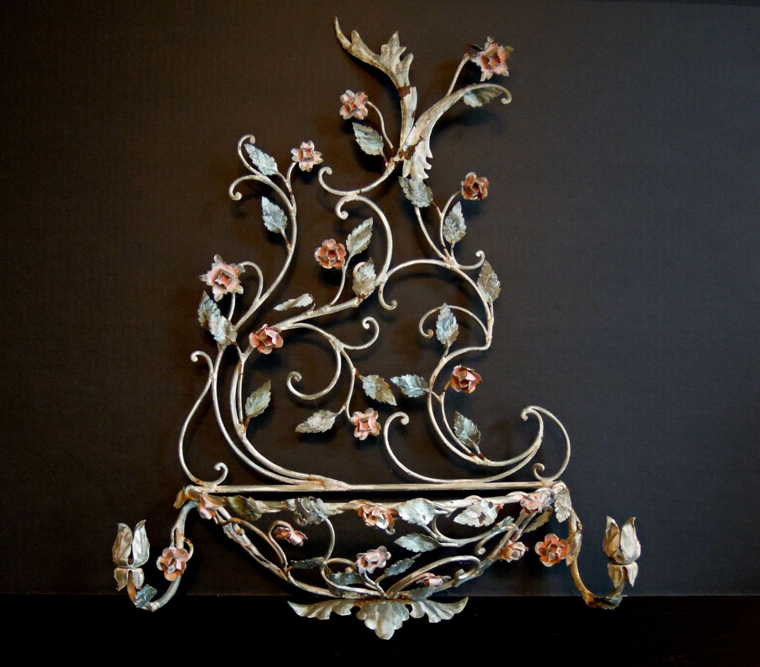 Vintage Italian Florentine Wall Sconce / Candle Holder ... on Wall Sconces That Hold Flowers id=86960