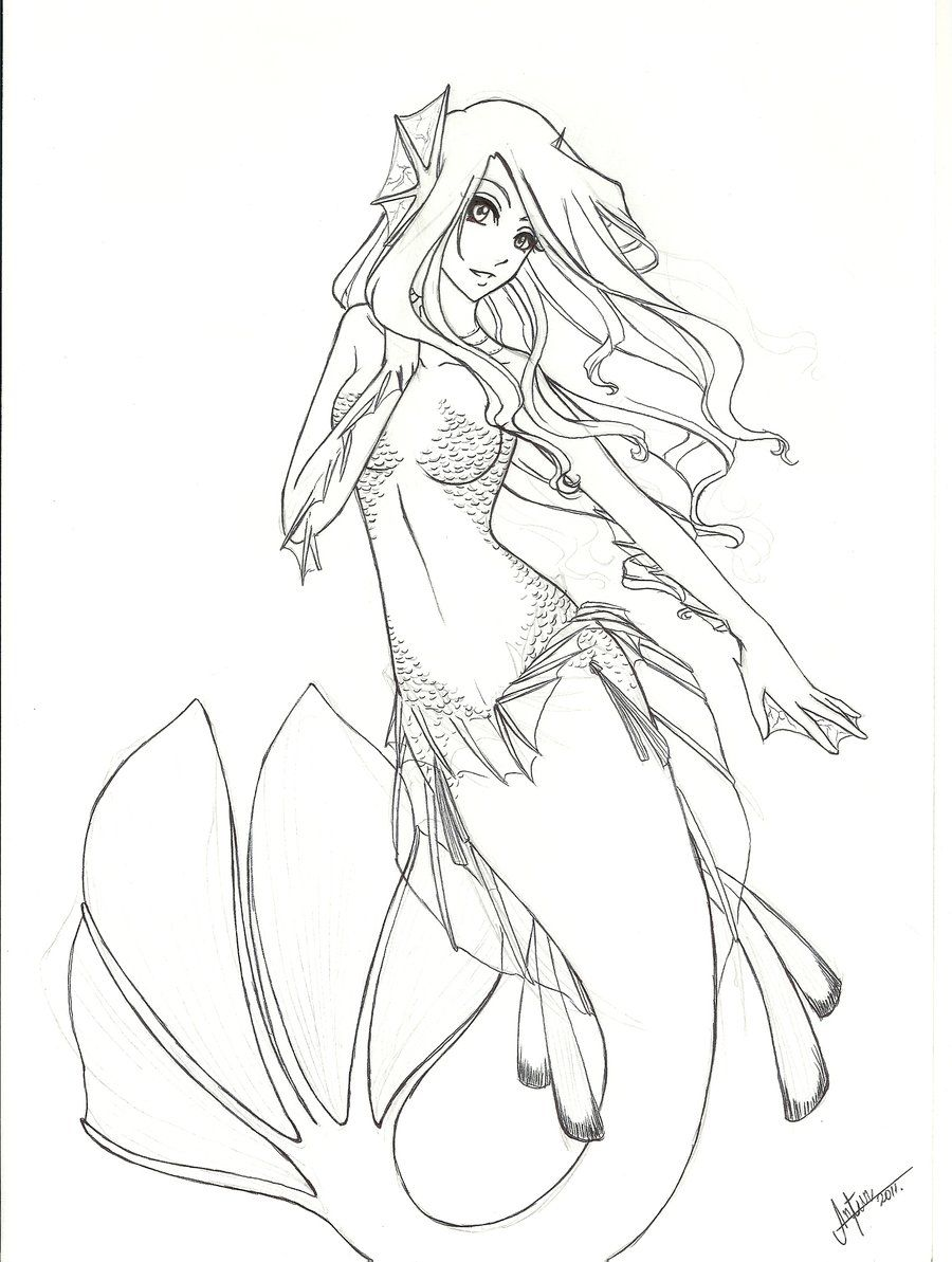 Ausmalbilder Anime Meerjungfrau : Mermaids To Print And Color Manga Anime Traditional Media