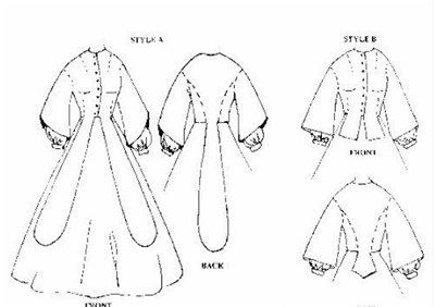 WN317 - 1850's-1860's Promenade Bodice Sewing Pattern by