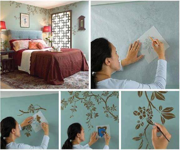 Tinta e com stencils e você pode transformar as paredes