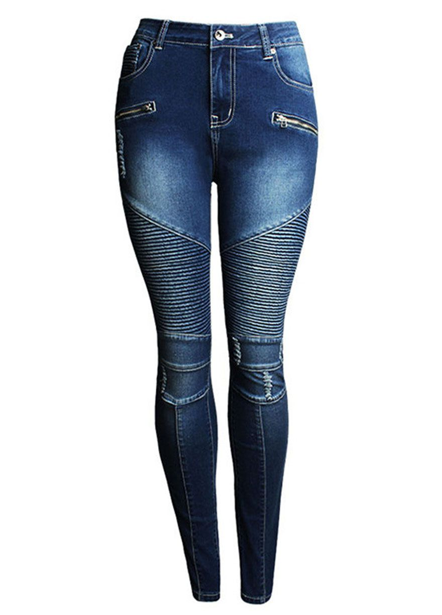 Blue Wash Denim Pleated Skinny Jeans With Zippers_Butt Lifting ...
