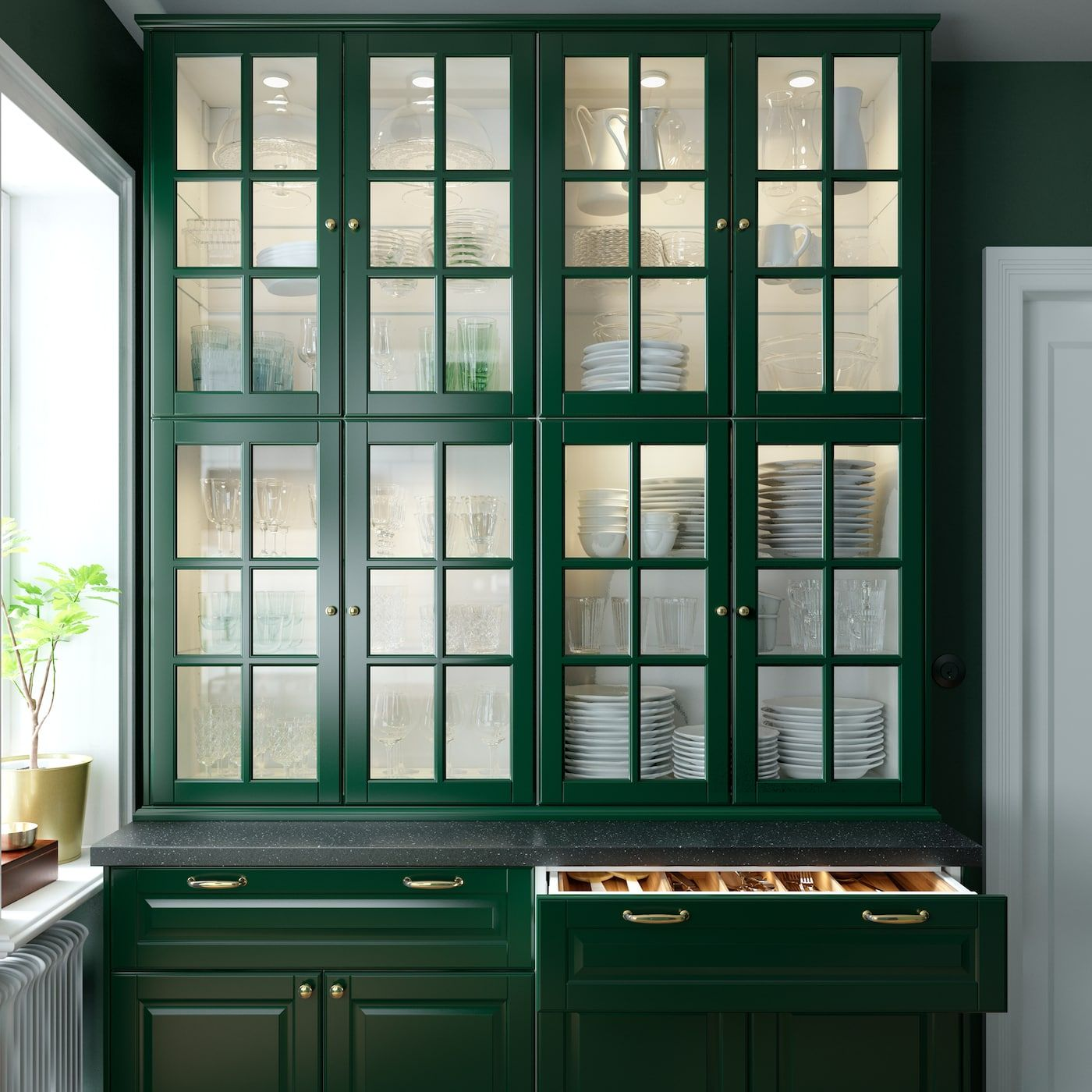 A green and fresh BODBYN kitchen in 2020 | Green kitchen ...