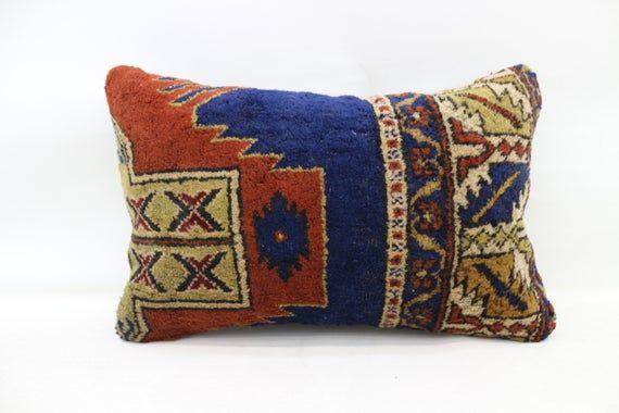 16x24 Rug Pillow, Ottoman Pillow, Neck Pillow, Throw Pillow, Cushion Cover, Decorative Pillow, Blue