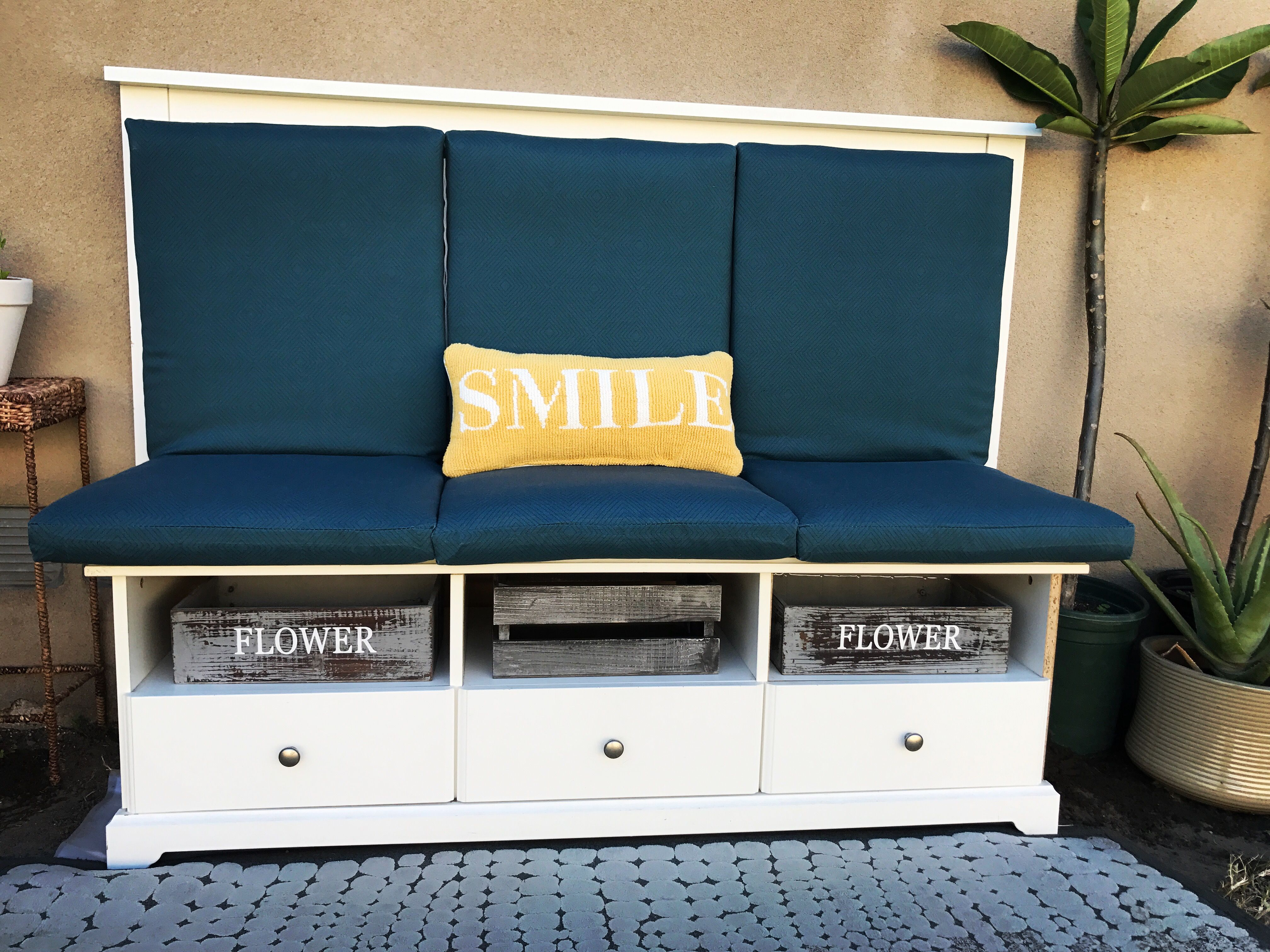 DIY Backyard Bench Made From And Old Full Size Headboard And An Old TV  Stand.