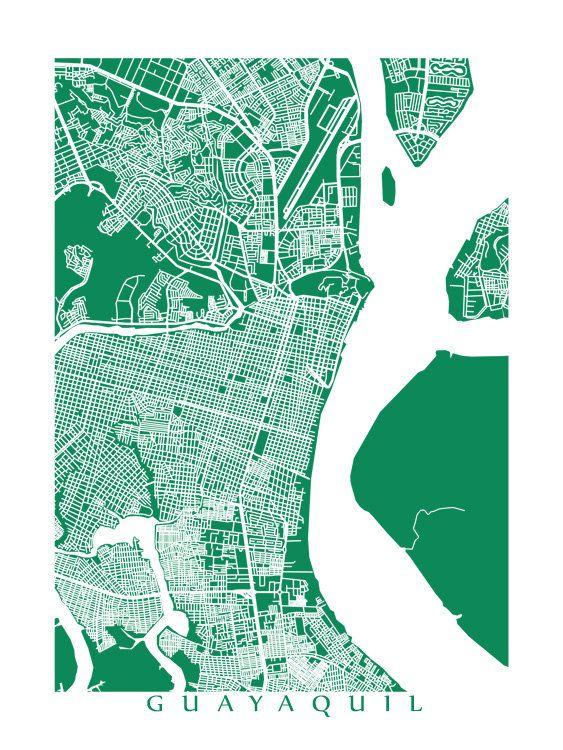 Guayaquil Map Print - Ecuador Poster