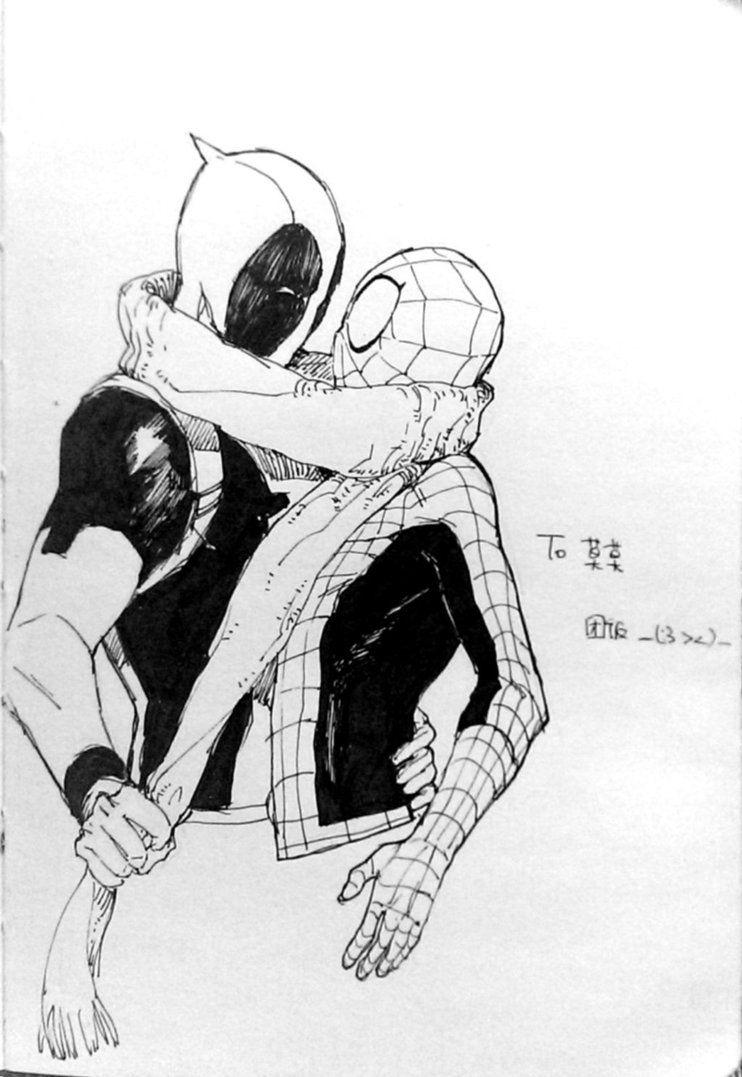 картинки дедпула и человека паука срисовать маленькие обеих