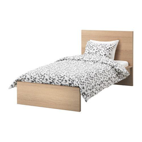 Malm Bed Frame High White Stained Oak Veneer Lonset Standard