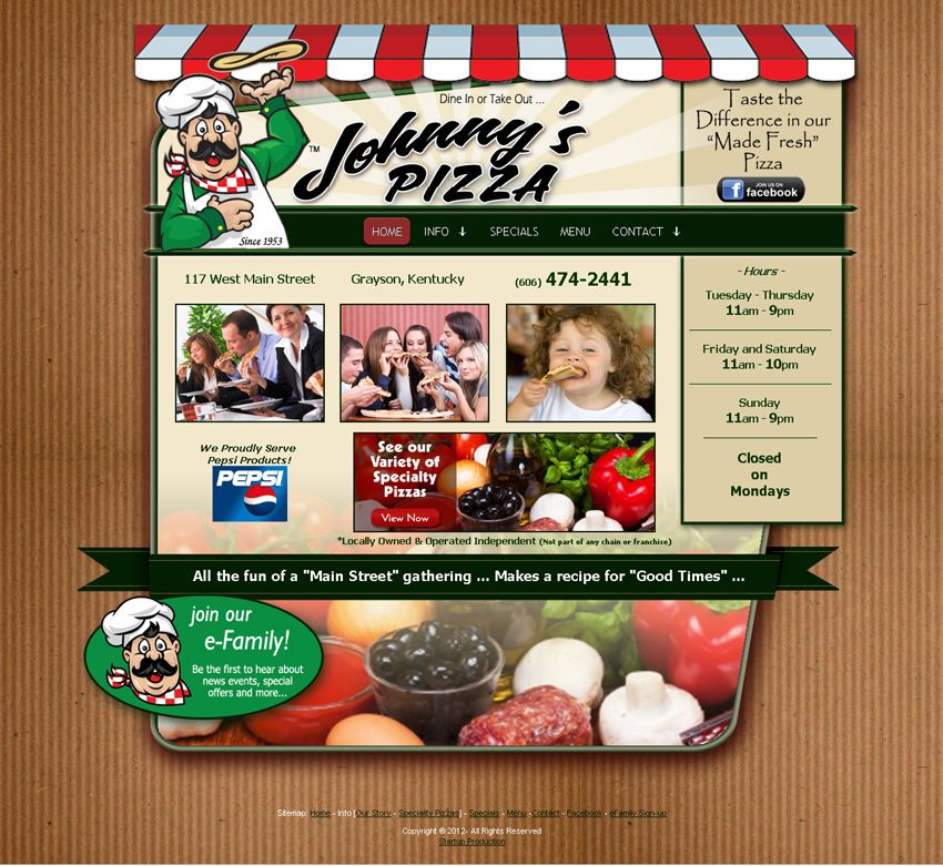 Johnny S Pizza Of Grayson Ky Custom Web Design Johnny S Pizza
